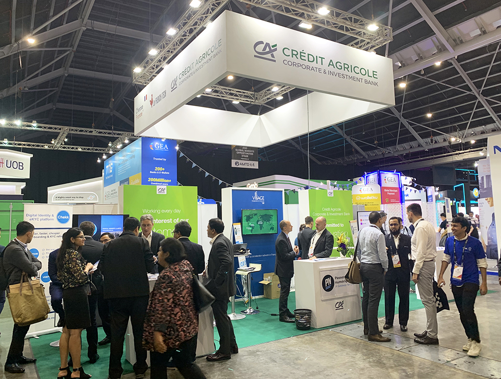 Photo of the Crédit Agricole CIB booth at the Singapore Fintech Festival